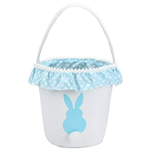 Easter Bunny BasketEgg Bags for Kids,CanvasCottonPersonalized Candy Egg Basket Rabbit Print Buckets with Fluffy Tail Gifts Bags for Easter
