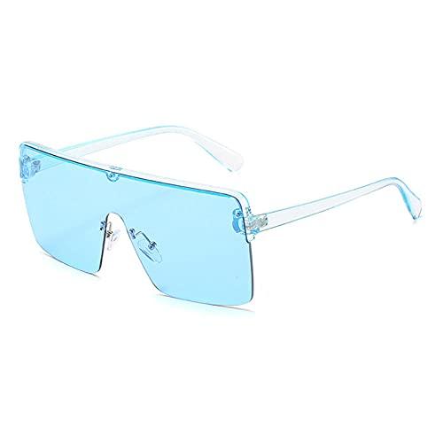 WQZYY&ASDCD Gafas de Sol Gafas De Sol Cuadradas De Gran Tamaño para Mujer, Lente Superior Plana De Moda para Mujer, Una Pieza para Hombre, Espejo De Sombra Uv400 para Hombre-Cian