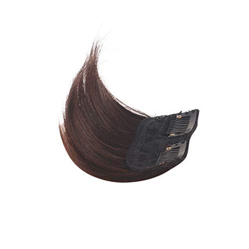 Heveux Humains Base de Cheveux Top Postiche, Clip dans Les Cheveux Topper pour Les Femmes Soyeux Clip-on Hair Topper Perruque, Real Hair Pad Fringe Co