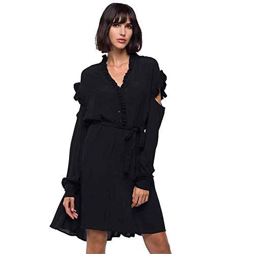 Replay Damen W9550A.000.83350 Kleid, Schwarz (Black 98), Large (Herstellergröße: L)