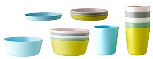 IKEA KALAS Children's Bowl Tumbler and Plate Set of 6 of Each Item Multi Coloured Pastel