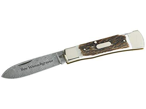 Hartkopf Damast-Taschenmesser, 300 Lagen, Hirschhorn, Neusilber, mit Namensgravur