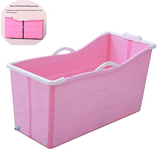 Bañera plegable para adultos, barril de baño plegable portátil, baño de bañera de la bañera independiente, piscina de baño plástica engrosada, 46 × 20.6 × 24.8 pulgadas (Color : Pink)