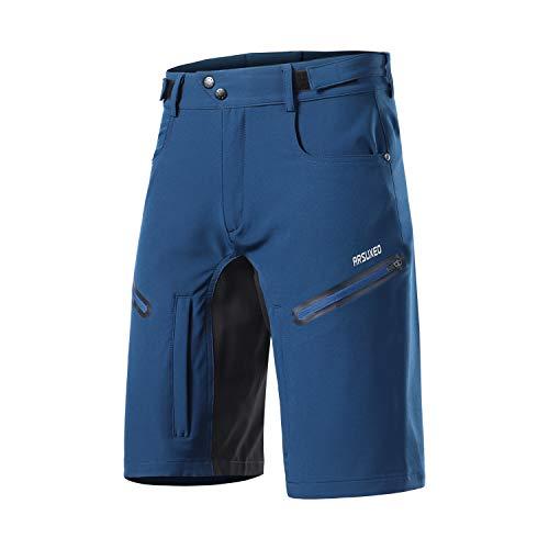 ARSUXEO Pantalones Cortos de Ciclismo para Hombre de Corte Holgado con Pretina Que Absorbe la Humedad 2006 Azul Oscuro M