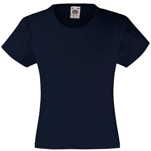 Fruit of the Loom Fruit of the Loom Mädchen T-Shirt SS079B 122,Blau - Deep Navy