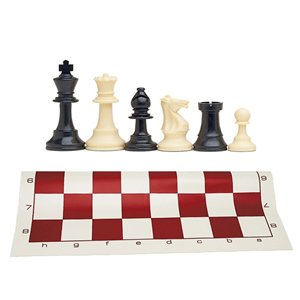 WE Games Best Value Tournament Chess Set - 90% Plastic Filled Chess Pieces and Red Roll-Up Vinyl Chess Board