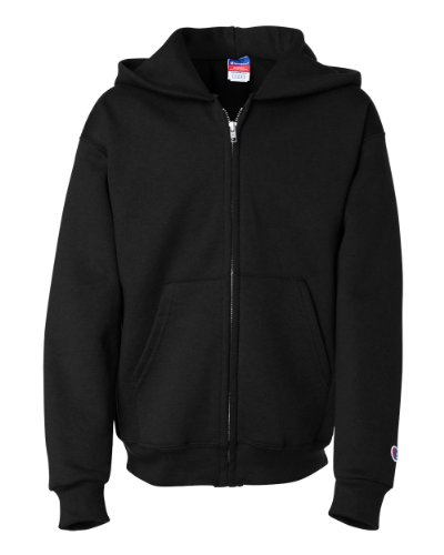 Champion Boys Boys' Big Powerblend Eco Fleece Full Zip Hoodie, Black, XL