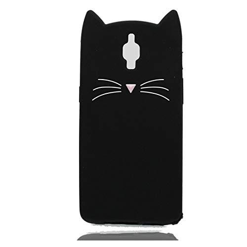 EarthNanLiuPowerTu OnePlus 3 cacasa, Forma 3D Linda de la Case de diseño de Dibujos Animados con TPU de protección a Prueba de Golpes Funda para OnePlus 3 - Negro Gato
