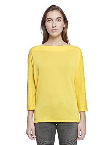 TOM TAILOR Damen T-Shirts/Tops T-Shirt mit U-Boot-Ausschnitt Jasmine Yellow,XXXL