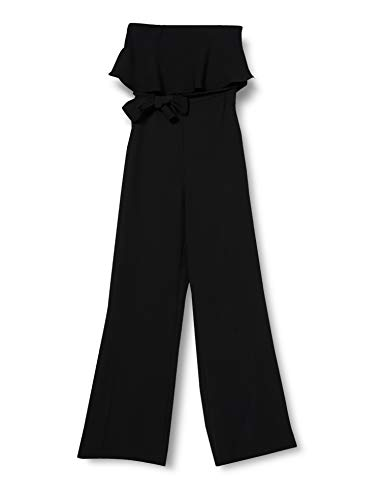 Amazon-Marke: TRUTH & FABLE Damen Jumpsuit mit Carmen-Ausschnitt, Schwarz (Black), 46, Label:3XL