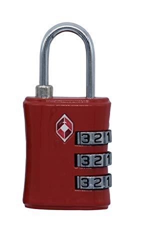 TSAロック ダイヤル式南京錠 ワイヤーロック 鍵 小型 3桁 海外旅行用 ミニ スースケースロック レッド