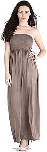 Nya kvinnor vanlig lång axelbandslösa elastisk skjuvning dam bandeau tröja bröst tub sommar maxiklänning