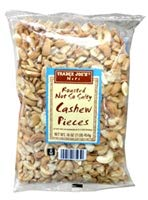 Trader Joe's Roasted Not So Salty Cashew Pieces 1 lb Bag (Pack of 2)