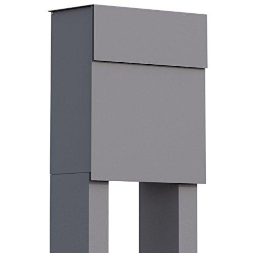 Staande brievenbus, design brievenbus Alto Grijs Metallic - Bravios