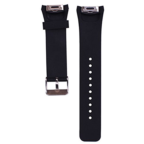 1PC Large Watch Band/Strap for Samsung Gear S2 Smartwatch Band Replacement Accessories with Metal Clasps Watch Strap/Wristband Silicone (Black)