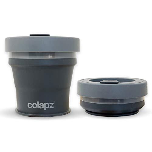 Colapz Faltbarer Kaffeebecher mit Deckel - Kaffee Travel Mug - Camping Becher Faltbar - Coffee to go Becher - Silikonbecher Faltbar - Klappbare Tasse Camping Tassen
