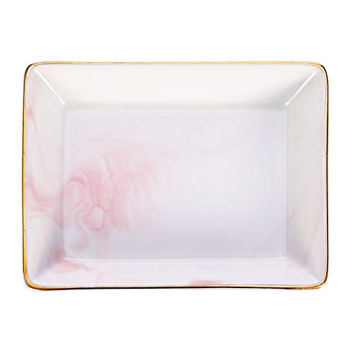 dgaf&bae Marmor Keramik Schmuckablage Ring Dish Mini-Waschtisch-Organizer Hochzeit Valentinstag Housewarminggeschenk(Rosa klein)