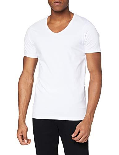 JACK & JONES Herren T-Shirt JJEBasic V-Neck Tee Herren-Shirt 12059219 Optical White M