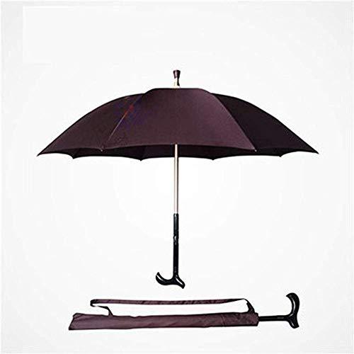 XINYAN JIA Teilbarer Teleskop Krückenschirm, Krücken Gehstock Regenschirm, Multifunktionskrücken Zur Stärkung Der Selbstverteidigung des Älteren Regenschirms,B