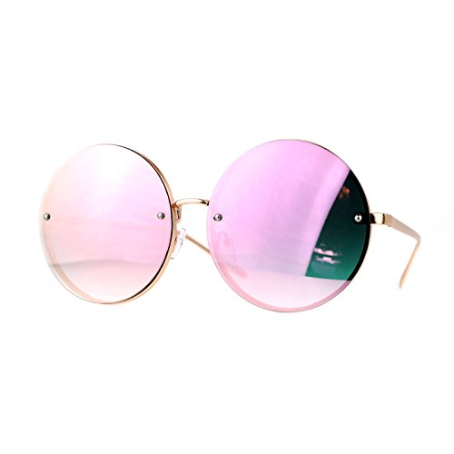 SA106 Mirrored Rimless Oversized Hippie Round Circle Lens Sunglasses Pink