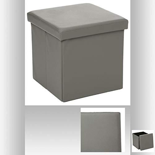 Pouf carré gris - Coffre de rangement pliable
