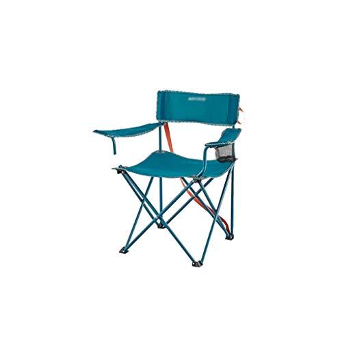 ZJ666 Klappstuhl, leicht, kompakt, tragbar, Stahlrahmen, zusammenklappbar, gepolsterter Armlehnstuhl mit Tragetasche, Klappstühle (Farbe: Blau)