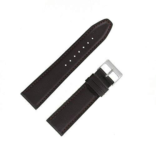 OnWatch - Correa de reloj de piel auténtica de 22 mm, color marrón
