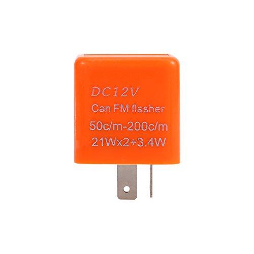 12V 2-Pin LED Relé intermitente electrónico Universal Moto Coche Indicador de señal de giro Hyper Flash Relé intermitente LED ajustable(naranja)