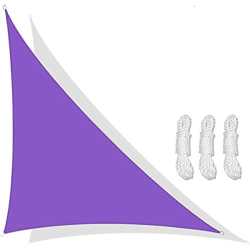 Triangular Velas De Sombra 3x4x5m Para Patio Toldos Exterior Terraza Con Cuerda Libre Protección Rayos UV Impermeable Para Patio Exteriores Jardín Balcón (color:púrpur(Size:3*4*5m(9.8*13.1*16.4ft))