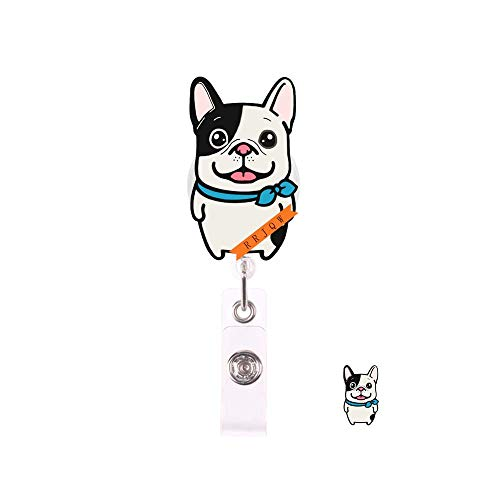 Frenchi Bulldog Retractable Badge Holder Reel,Cute Name Badge Tag Clip On Card Holders with Belt Clip,ID Badge Reels Clip Card Holder for Office Worker Doctor Nurse Medstudent and Student