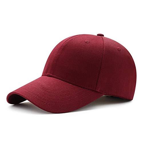 Hombres Mujeres Llanura Curvada Visera Gorra de béisbol Sombrero Color sólido Moda Gorras Ajustables-Wine Red