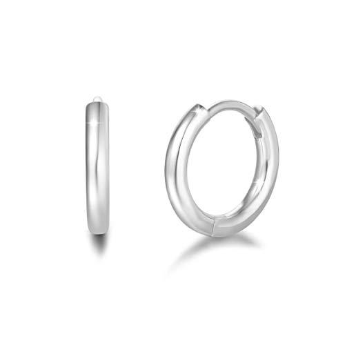 Damen Creolen Klein Ohrringe Runde Röhre 2 mm-Stärke Endlos-Verschluss für Frauen Mädchen aus 925 Sterling Silber Weiß Vergoldet Ohrschmuck - Durchmesser: 13 mm