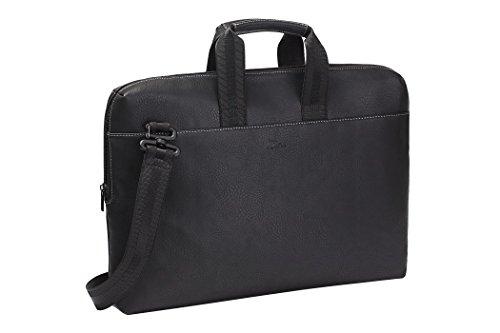 RIVACASE Notebooktasche bis 15.6 Zoll – Extrem flache Kunstleder Laptoptasche mit Seitenpolster & viel Stauraum- mit zusätzlichem Fach für ein Tablet bis 10.1 Zoll / 8931 Schwarz