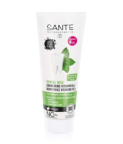 Sante Natuurlijke cosmetica Dental med tandcrème vitamine B12, beschermt tanden en tandvlees, met fluoride, veganistisch, biologische extracten, natuurlijke tandverzorging, 75 ml