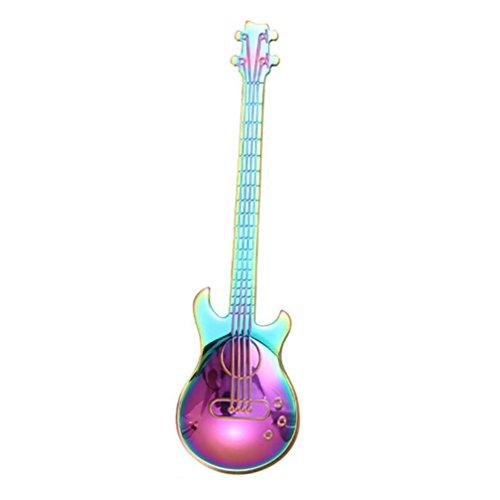 YJYDADA Stainless Steel Guitar Spoons Rainbow Coffee Tea Spoon Flatware Drinking Tools (Multicolor)