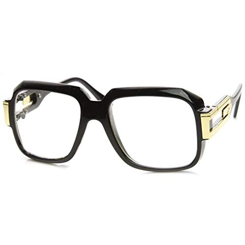 MLC Eyewear Oversized Rectangular Hip Hop Nerdy Black and Gold Clear Lens Glasses