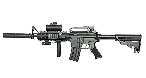 Double Eagle Fucile Airsoft-M83 A2 M4 plastica Rinforzata ABS Colore Nero Elettrico (0,5 Joule) -Semi Full Automatic
