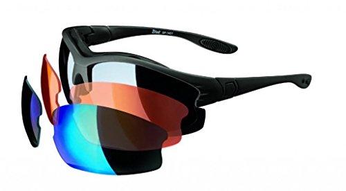 Multi-Sportbrille Sonnenbrille mit 3 Gläser für alle Sichtverhältnisse Schwarz