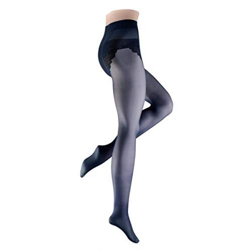 Wilox Damen Stützstrumpfhose mit atmungsaktiver meryl Nexten Sohle und Bikini Höschenteil Fein CHICAGO 30 den, L, 46-48,marine
