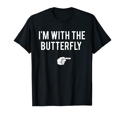 Im With Butterfly Halloween Costume Party Matching Couples T-Shirt
