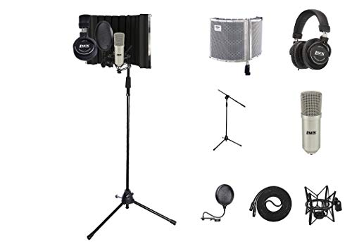 LyxPro Vocal Booth 30 Sound Absorbing Portable Microphone Shield, Durable Boom Arm, Spider Shockmount, Dual Layer Pop Filter, Vocal Condenser & Professional Studio Headphones Kit