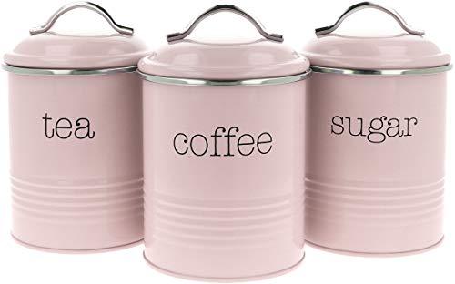 com-four® 3x Vorratsdosen im Vintage Design, Runde Kaffeedose aus Metall mit Aromaverschluss, Nostalgie Kaffee, Zucker und Teedose im Set (03 Stück - 1000ml rosa)