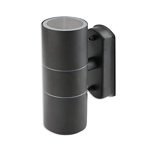 LED Wandleuchte Außen anthrazit 1,2 Watt warmweiß – IP44 Up und Down Außen-Leuchte aus Aluminium – 2x GU10 Außenstrahler Garten-Lampe