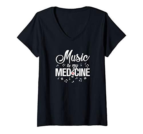 Womens Music Is My Medicine V-Neck T-Shirt