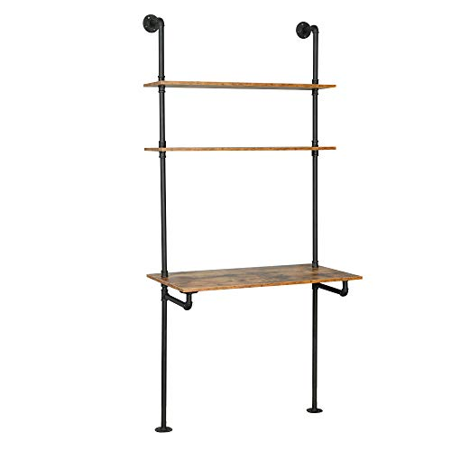 ZIOTHUM Computer Desk with Shelves Ladder Desk Industrial Bookcase Desk Wall Mount Floating Table with Storage 36x20x81