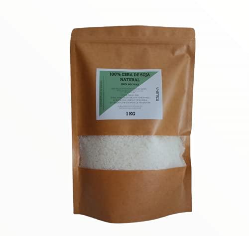 ERILENA Cera di soia 100% naturale (1 kg) in scaglie, qualità superiore, cera di soia naturale ecologica per realizzare candele, prodotta in Spagna, cera naturale