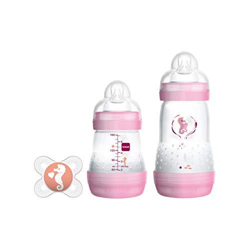 MAM Easy Start Anti-Colic Starter Set S, Baby Erstausstattung mit 2 Anti-Colic Flaschen (130 ml & 260 ml) inkl. Sauger in 2 Größen und Schnuller, Baby Geschenk Set, ab der Geburt, rosa