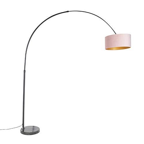 QAZQA Bogenlampe schwarzer Veloursschirm rosa mit Gold/Messing 50 cm - XXL/Innenbeleuchtung/Wohnzimmerlampe/Schlafzimmer Stahl/Marmor/Textil Länglich/Zylinder/Rund LED geeignet E27 Max. 1