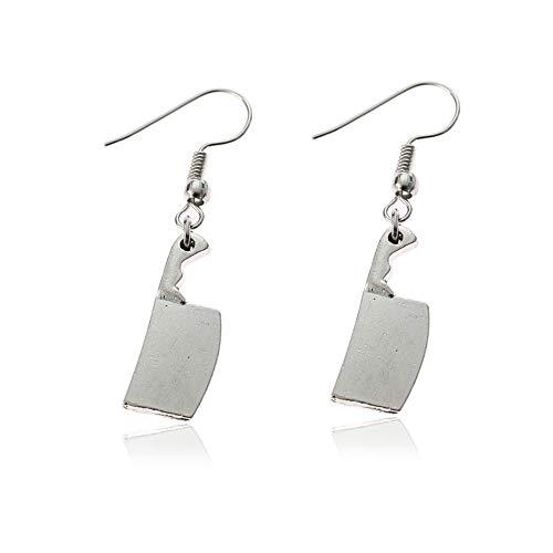 Jeni-Sely Vintage Handmade Punk Knife Style Kitchen Knife Earrings Drop Earrings Halloween Jewelry (silver)