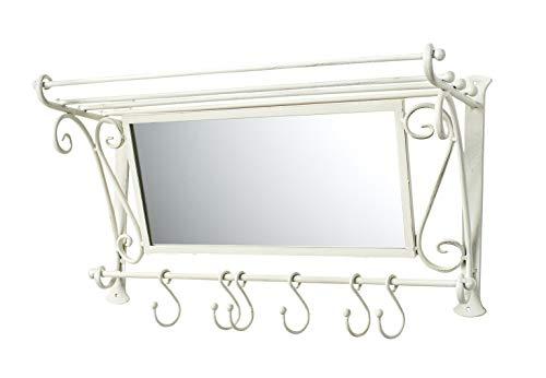Kobolo Garderobe Antik-Weiß mit Spiegel und 6 Haken Metall